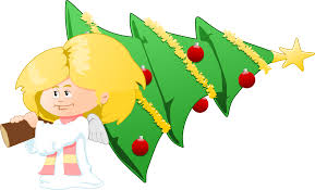 clipart christmas tree carrying angel
