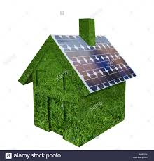 solar panels on houses house made out of green grass with solar panels on roof stock
