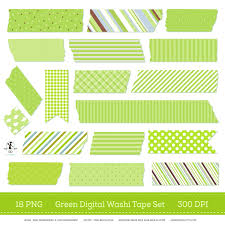 washi tape digital washi strips green digital washi set washi