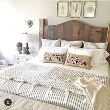 get the look farmhouse bedroom wood headboard burlap pillows