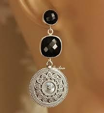 designer earrings black onyx silver artisan ethnic earrings designer earrings azilaa
