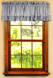 Country Porch Curtains Chambray Blue Ruffled Window Curtain Valances