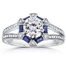 art deco moissanite engagement ring with sapphire and diamond 1 3