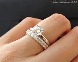 silver engagement ring gold wedding band 12 wedding band only 3 4 ct made diamond simulants