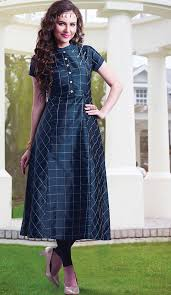 navy blue color silk a line style girls readymade kurti online