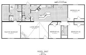 four bedroom floor plans 4 bedroom floor plan c 9807 hawks homes manufactured