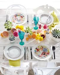 high low colourful table setting style at home