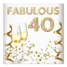 40 fabulous gold champagne 40th birthday party custom invites by