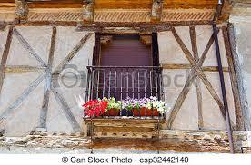 balkon gitter stockfoto fenster blumen schwarz balkon gitter csp32442140