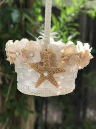 flower girl christmas ornament flower girl basket with starfish in white with blush