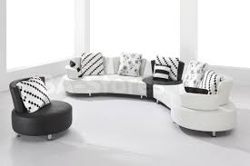 Modern White Bonded Leather Sectional Sofa Furniture Cozy Round Leather Couch Very Comfortable To Wear