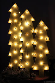wooden trees with lights rustic