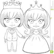 prince and princess coloring page 2 royalty free stock image