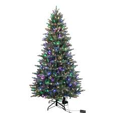 lowes artificial christmas trees with lights shop holiday living 7 5 ft pine pre lit artificial christmas tree