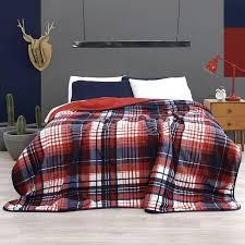 Plaid Bed Set Plaid Bedding Set Rerversible To Guarantee Vianney Home Decor