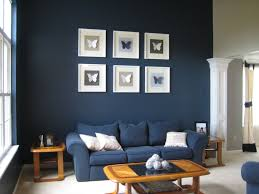 Dark Blue Accent Wall by Living Room With Blue Accent Wall And Large Glass Window As Well