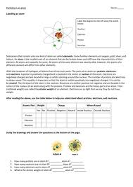 atomic structure subatomic particles worksheet worksheet