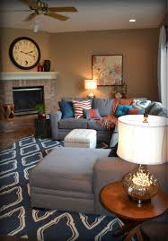 Grey Family Room Ideas Casual Orange Blue And Gray Family Room Traditional Family Room