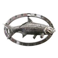 pewter tarpon oval holiday ornament s041or custom pin