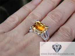 large engagement rings large emerald cut citrine frog finger diamond pave prongs