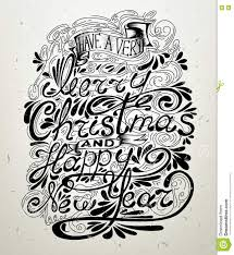 merry and happy new year lettering design message stock