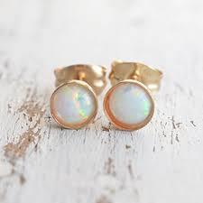 opal earrings stud opal earrings stud 14k gold filled 4mm white opal