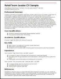 Impressive Resume Sample by Retail Team Leader Cv Sample Myperfectcv