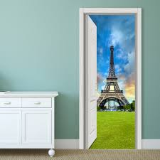 Eiffel Tower Wall Decals 88x200cm Pag Imitative Door 3d Wall Sticker Ocean Desert Eiffel