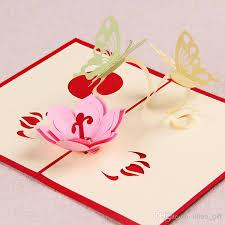 love theme the creative butterflies with flower handmade 3d pop up
