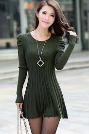 sweater dress army green puff sleeve braided ribbed sweater dress sleeve