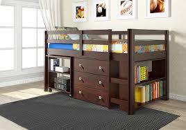 Bookcase Bunk Beds Amazon Com Donco Kids 760 Cp Low Study Loft Bed Dark Cappuccino