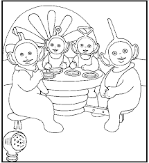 teletubbies lunch coloring picture kids teletubbies