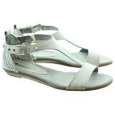 tamaris 28170 flat sandals in white in white