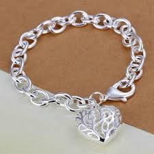 heart chain link bracelet images Sterling silver link bracelet with filigree heart charm things jpg