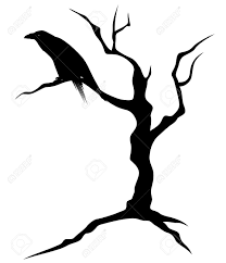 halloween silhouette clipart black raven bird sitting on the bare twisted tree ominous