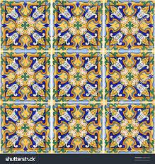 Spanish Mediterranean Authentic Spanish Mediterranean Ceramic Tile Stock Photo 64367050