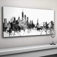 new york skyline cityscape black and white by artpause panoramic canvas