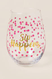 wine glass gift sip happens stemless wine glass s