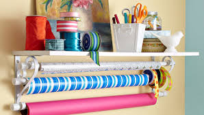 present wrapping station wrapping paper shelf