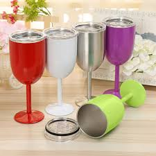 10oz stainless steel wine glasses goblets cup double wall