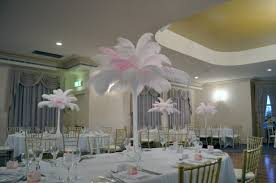 70cm Vase White And Light Pink Ostrich Feathers In White 70cm Tower Vase
