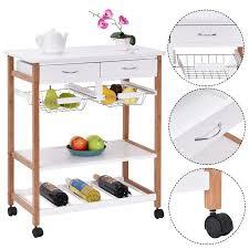 kitchen trolley island costway rolling wood kitchen trolley cart island storage basket