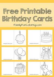 free cards to print happy birthsday coloring pinterest free