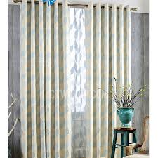 Country Style Window Curtains Blue Country Style Leaf Pattern Living Room Or Bedroom