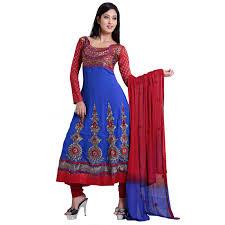 buy fabdeal blue u0026 red colored georgette anarkali dress material
