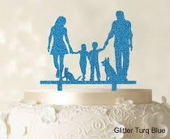 glitter cake topper family cake topper personalized silhouette glitter cake topper