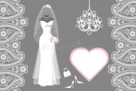wedding bridal dress with frame label paisley stock vector image