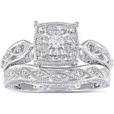 bridal ring set miadora sterling silver 1 5ct tdw diamond milgrain bridal ring set