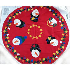 Christmas Rug Snowman Tree Skirt Table Topper Fabric Panel Vintage Bow Tie