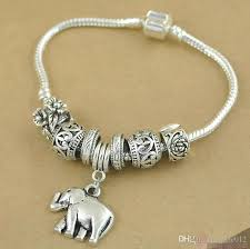 antique silver bracelet charms images Vintage antique silver plated european snake chain elephant jpg